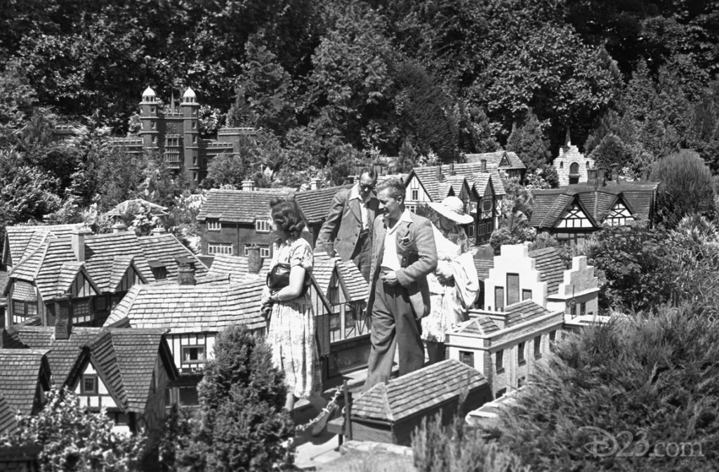 During a trip to Europe, Walt visited Bekonscot, outside of London, where he, his friends, and family walked through miniature replicas of famous cities around the world. Inspiration for the <i>Storybook Land Canal Boats</i> at Disneyland?