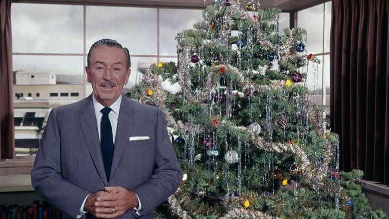 Walt Disney with a Christmas tree