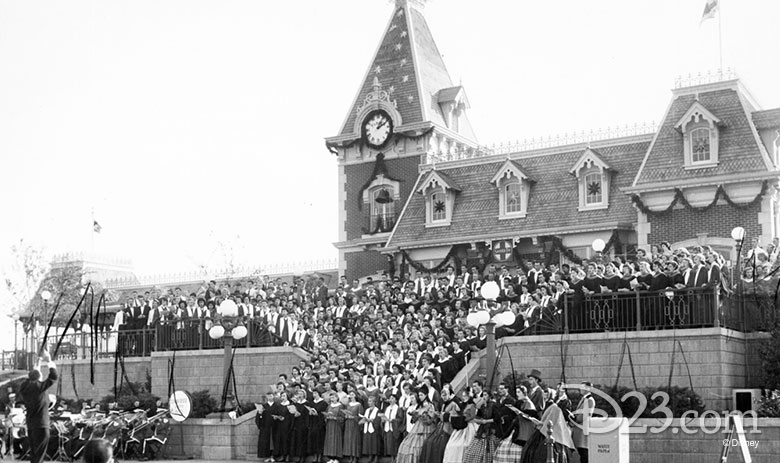 Massed Choirs perform on Main Street Station on December 15, 1956