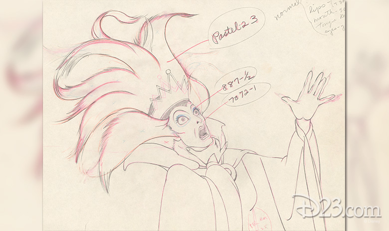 The Queen, shown in rough animation as she transforms into a hag, has inspired many wicked characters.