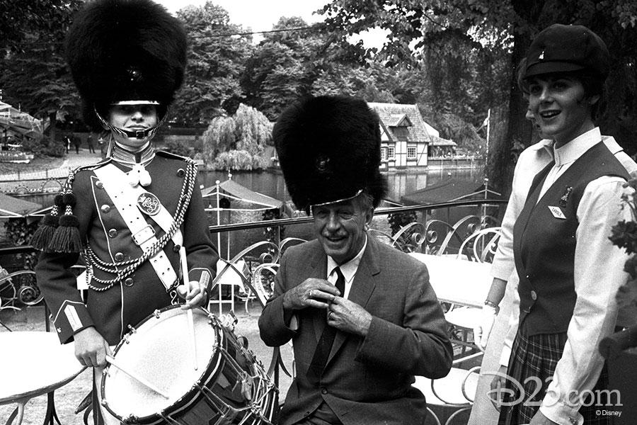Walt Disney wearing a band hat in Tivoli Gardens