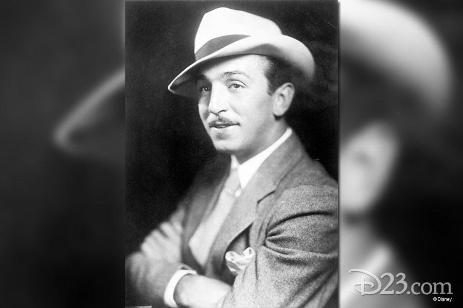 Walt Disney looking dapper with a formal hat.