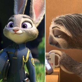 Bogo, Judy, and Flash from Zootopia