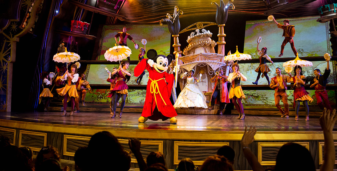 Mickey Mouse on stage during Mickey and the Magical Map