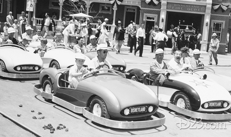 Bob Gurr driving an Autopia car
