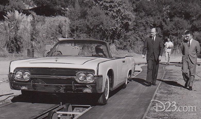 Bob Gurr testing a ride vehicle