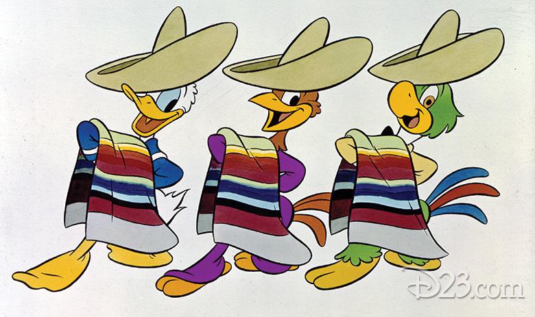 Donald Duck (left, Panchito Pistoles (middle), Jose Carioca (right)
