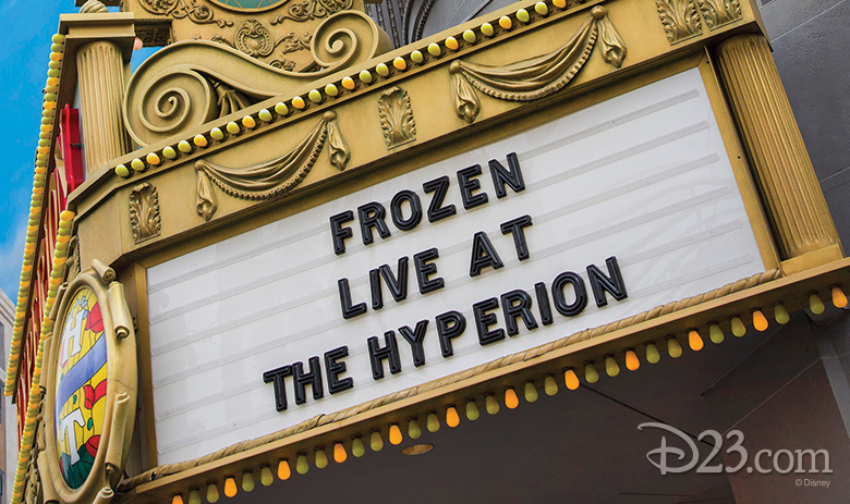 Frozen marquee at the Hyperion Theater
