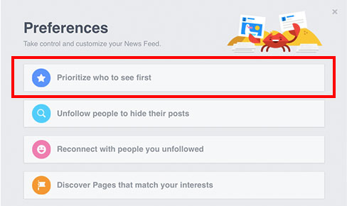 Facebook Prioritize who to see first