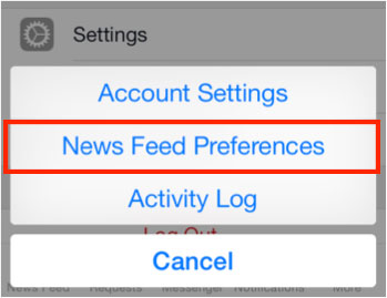 Facebook News Feed Preferences button