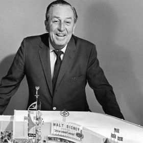 Walt Disney with the it's a small world model
