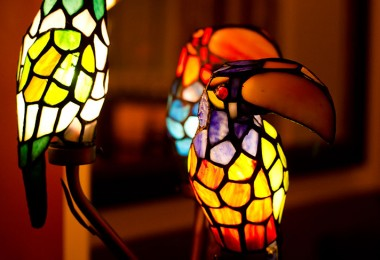 Tiffany-style parrot lamps