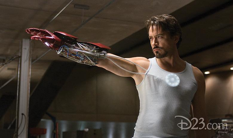 Tony Stark with Iron Man glove