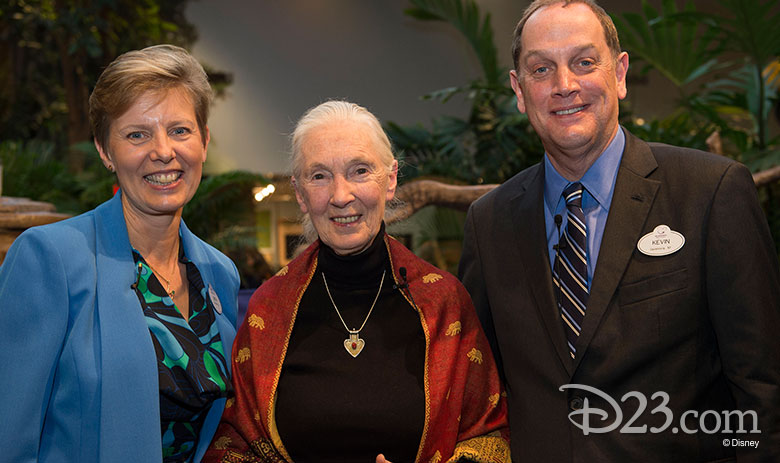 Dr. Beth Stevens, Senior Vice President, Environment & Conservation, Corporate Citizenship, The Walt Disney Company, Dr. Jane Goodall, DBE, Founder, the Jane Goodall Institute, and Kevin Callahan, Vice President, Strategic Philanthropy, Disney Corporate Citizenship