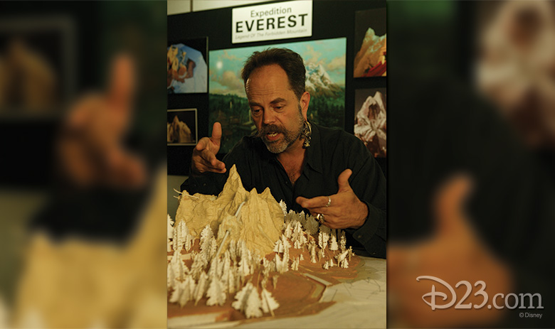 Imagineer Joe Rohde with a model of Expedition Everest.