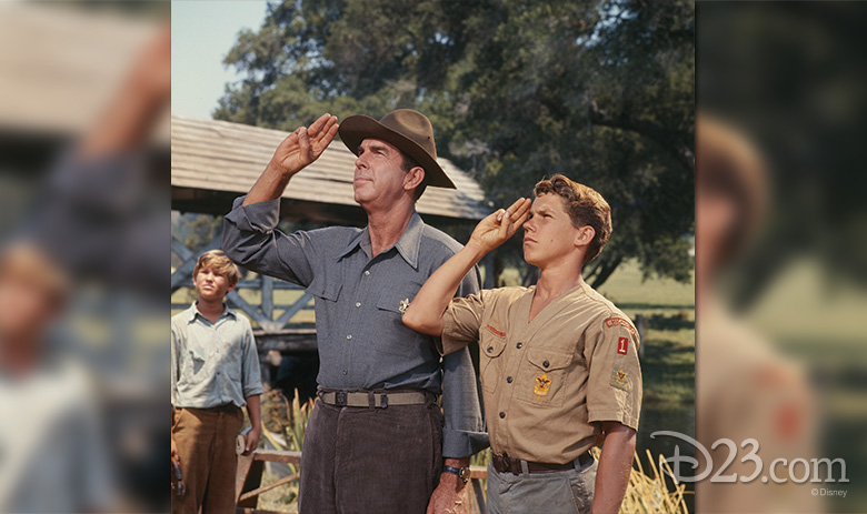 (left to right) Kurt Russell, Fred MacMurray, Ricky Kelman