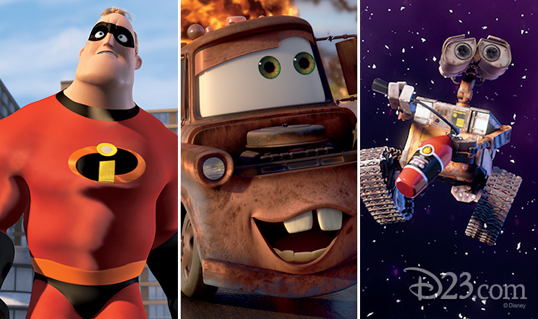 Mr. Incredible, Mater, and WALL-E