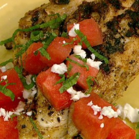 Grilled Marinated Chicken Breasts with Watermelon Feta Salad