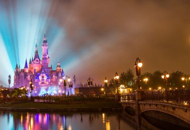 Shanghai Disneyland castle at night
