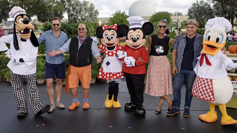 The Chew cast with Mickey, Minnie, Donald and Goofy at Epcot