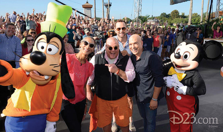 Cast of The Chew with Mickey and Goofy at Epcot