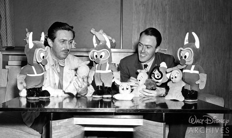 Walt Disney and Roald Dahl with The Gremlins toys