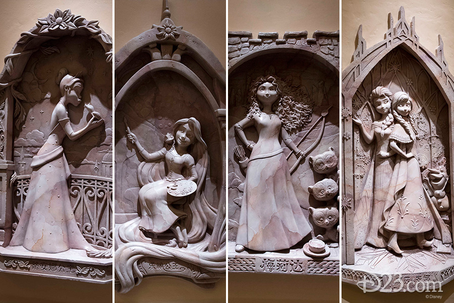 Disney Princesses inside Shanghai Disneyland's Castle