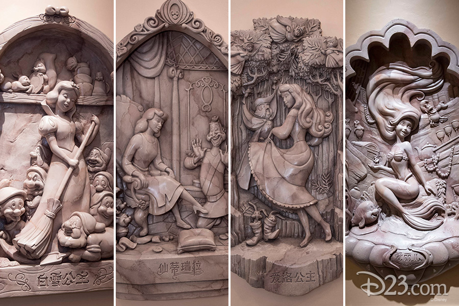 Princess motifs in Shanghai Disneyland's Enchanted Storybook Castle
