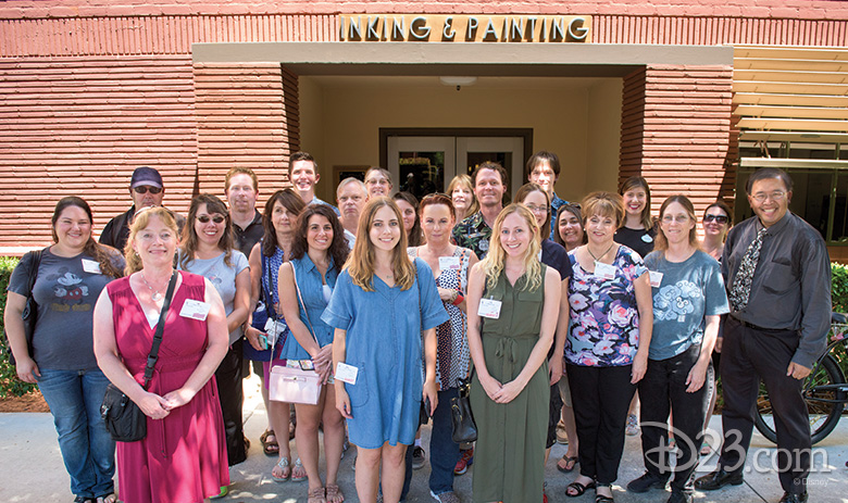 D23 Members in front of Ink and Paint Building
