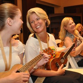 D23 Members take Ukulele lessons