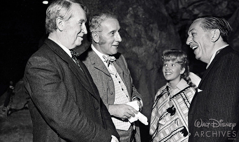 Maurice Chevalier, Wilfrid Hyde-White, and Hayley Mills with Walt Disney