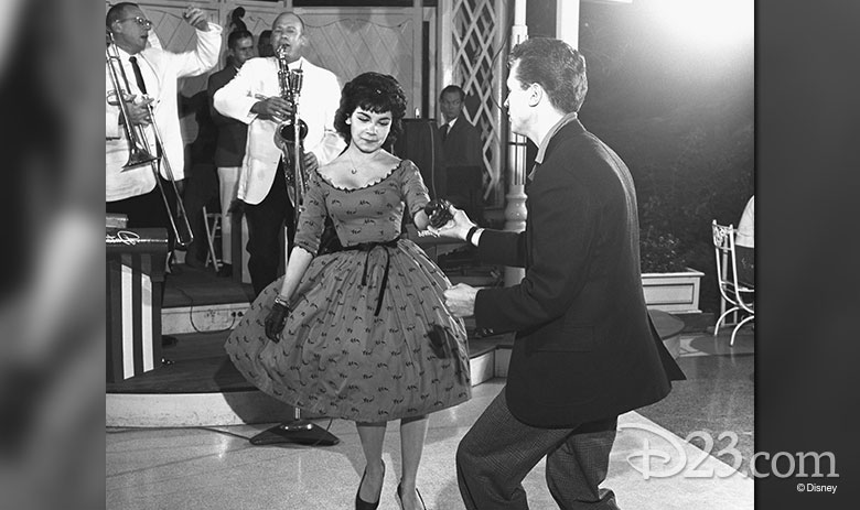 Annette Funicello dancing at Carnation Plaza Gardens