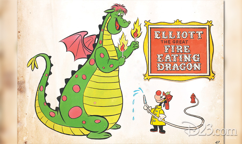 Elliott (Pete's Dragon 1977) and firefighter clown from a never-produced area called Dumbo Circus at Disneyland, planned for opening circa 1976