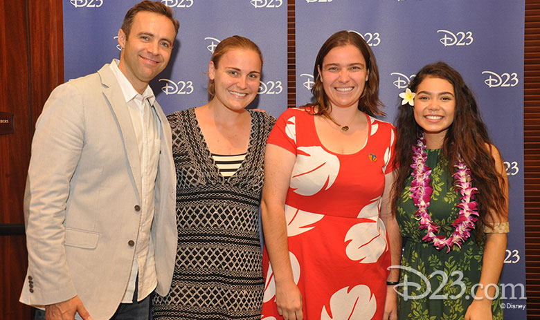 D23 Members pose with Hyrum Osmond and Auli'i Cravalho