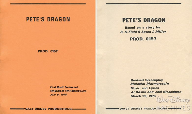 Pete's Dragon 1975 First Draft Treatment Cover and 1976 Revised Screenplay Cover