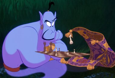 Aladdin and Genie playing Chess
