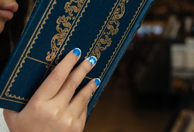 Belle's Blue Dress nail art