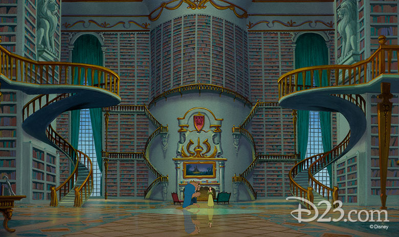Beast and Belle in the library