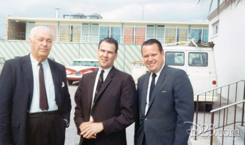 Roy Hawkins, Bob Foster, and Walt Disney Productions General Counsel Dick Morrow
