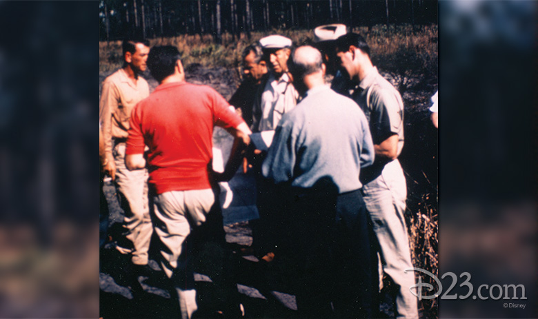 Surveyor Bill Hart, Donn Tatum, Joe Potter, Walt Disney, Roy Disney, State Senator Irlo Bronson (hat picture only), and Bob Foster inspect the Florida property in November 1965.