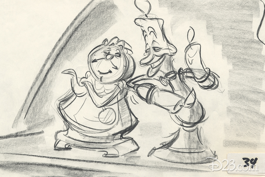 Cogsworth and Lumiere concept art