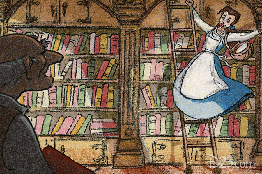 Belle in the bookstore concept art