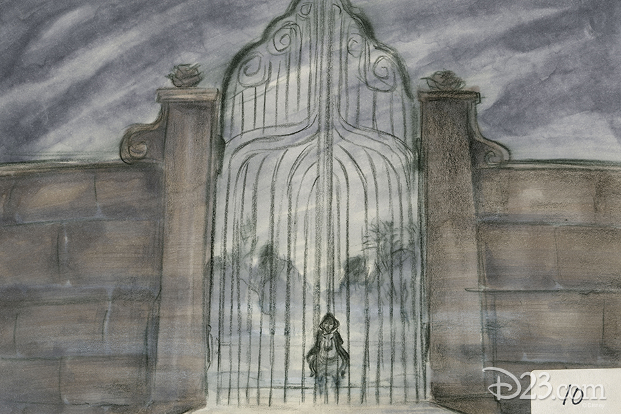 Belle and Philippe at Beast's castle concept art