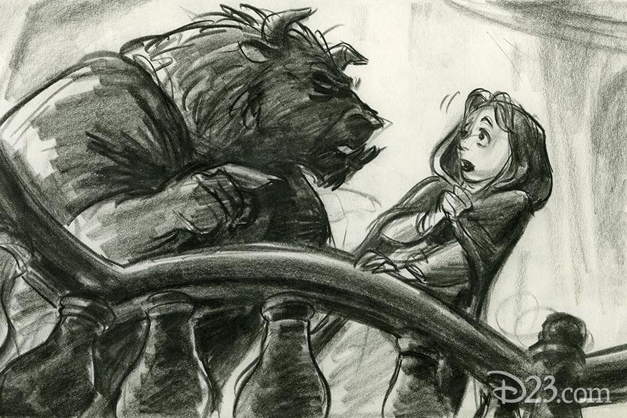 Beast scolding Belle concept art