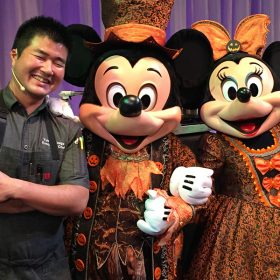 Chef Yuhi, Mickey Mouse, and Minnie Mouse