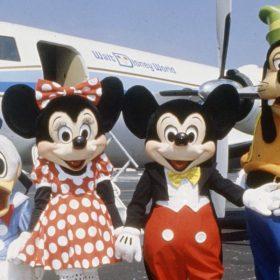 Mickey, Minnie, Donald, and Goofy with Walt Disney's plane