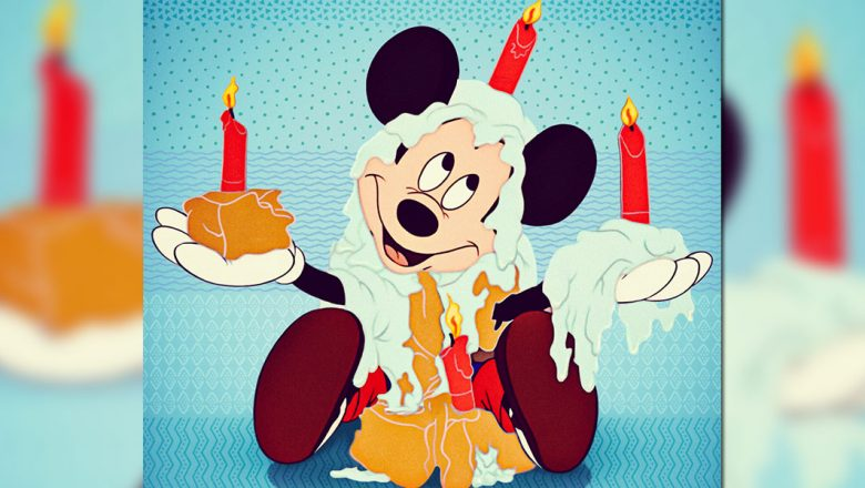 Mickey Mouse with birthday cake