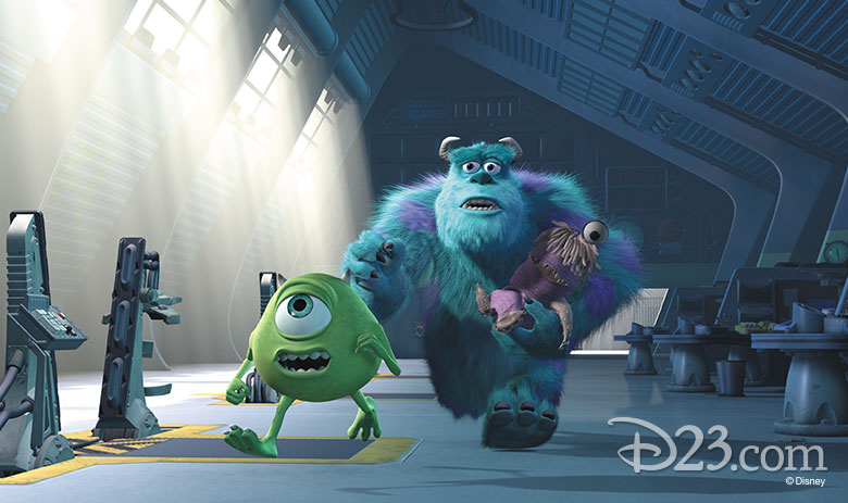 Mike, Sully, and Boo running