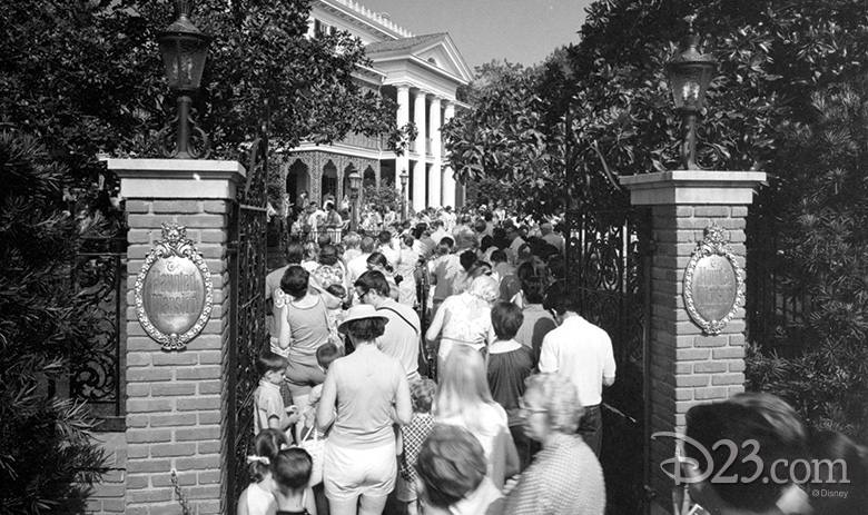 Guests in line for the Haunted Mansion