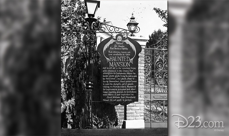 Sign in front of the Haunted Mansion